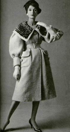 1958 Pierre Balmain designer couture coat belt mutton sleeves full puff late 50s early 60s looks vintage fashion style model magazine