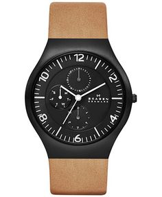 Skagen Men's Grenen Light Brown Leather Strap Watch