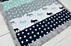 Baby minky blanket, Moose blanket, mint blue blanket, throw blanket woodland blanket,  boy blanket, faux fur cuddle, baby shower gift, birth