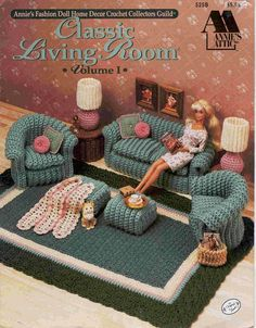 Image detail for -Doll Home Furnishings II Crochet Patterns Living Room OOP Barbie . Annie's Crochet, Crochet Doll Pattern, Crochet For Kids, Crochet Dolls, Crochet Patterns, Barbie Furniture, Dollhouse Furniture, Crochet Furniture, Doll Home