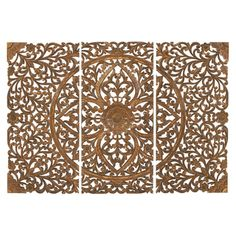 Deco 79 14323 Extra Large Hand-Carved Brown Wood Wall Panels with Floral & Acanthus Designs Wall Decor Set, Wood Wall Decor, Art Decor, Carved Wood Wall Art, Hand Carved, Wood Artwork, Wood Panel Walls, Wood Paneling, Wood Plaques