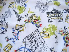 paris fabric prints | Vintage Novelty Paris France French Print Fabric, 2+ Yds from ...
