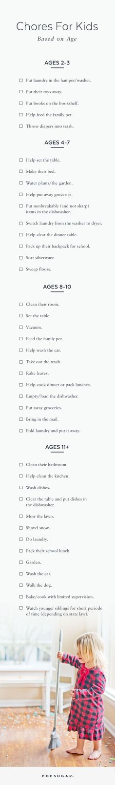 Pin for Later: These Are the Chores Your Child Should Be Doing This Year Based on Their Age