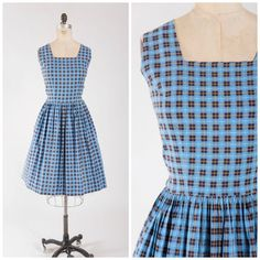 Vintage 1950s Dress  Plaid Promises  Blue by SimplyVintageCo