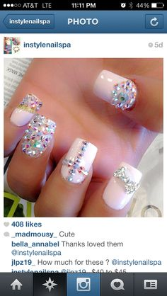 Pink rhinestone nails Sinaloa style nail design