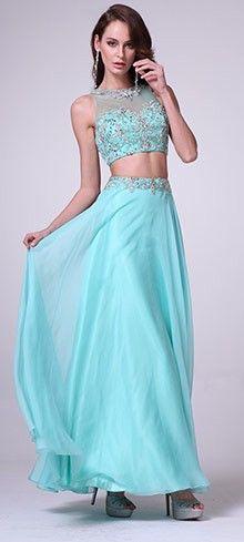 Mint Chiffon Embellished Two Piece Dress