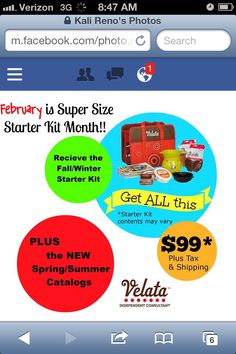 Join Velata Now!! It's Super Sized Starter Kit Month!! www.weloveit.velata.us Don't miss out!!