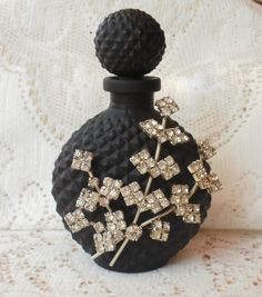 Satin Black Glass with Vintage Rhinestone Jewelry Embellished Perfume Bottle
