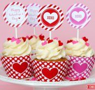 Free Printable Valentine's Day Cupcake Set by Chickabug