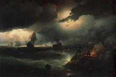 Петр I при Красной горке, зажигающий костер для сигнала гибнущим судам своим - 1846 год