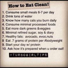 Clean eating tips.