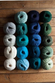 Sailboat Yarn Sampler (19 balls of Palette): Sky White Cream Navy Tidepool Heather Marine Heather  Blue Note Heather Spearmint Celadon Delta Cyan Forest Heather Silver Spruce Aurora Heather Marina  Sagebrush Shire Heather Finnley Heather