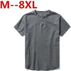 10XL 9XL 8XL 7XL 6XL 5XL New Summer Mens V Neck Short Sleeve T Shirts Casual Slim Linen Cotton T Shirt Men Plus Size tops & tees