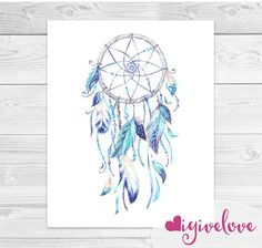 Watercolor Dreamcatcher Art Print  Native American by igivelove