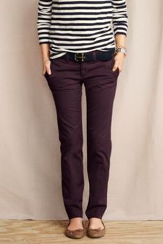 Women's True Slim Chinos from Lands' End in french walnut, peacock blue, or deep burgundy   [love the top too]