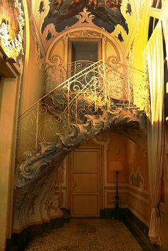 Interior staircase at Palazzo Biscari - mid 18th century - Sicily Italy
