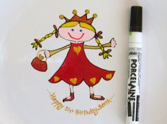 You,re never too old to be a princess!  Happy Birthday Signing Plate – Princess  www.smashingglassdesigns.co.uk