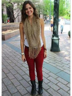 Scarf, red jeans, combat boots