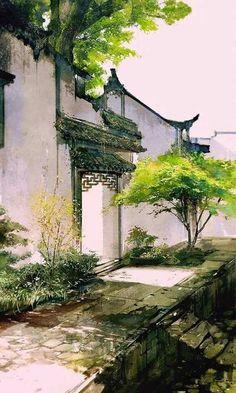 Fantasy Landscape, Landscape Art, Watercolor Landscape, Watercolor Art, Art Asiatique, Chinese Architecture, China Art, China Painting, Anime Scenery