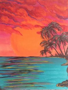 A personal favorite from my Etsy shop https://www.etsy.com/listing/203649921/fire-palm-trees-signed-original-painting