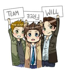 Chibi Team Free Will by PlaysWithScissors05  *Cas is holding his sign backward and upside-down /)^w^(*