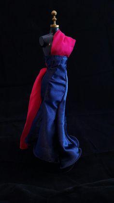 Vestido Pink e Azul #dress #doll #vestido #boneca #barbie #pink #azul #blue #rosa