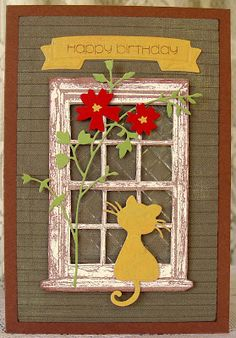 handmade window card from One Paper Heart ... cute die cut cat looking in ... weathered window frame is stamped and cut out ... sweet scene ...