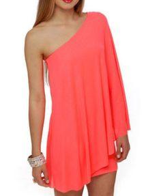 one shoulder coral pink dress
