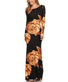 Another great find on #zulily! Black & Orange Floral Maxi Dress - Plus Too #zulilyfinds