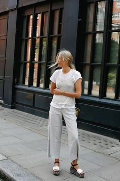 Le Fashion Blog White Layered Tank Tee Shirt White Pants Chunky Sandals Via…