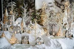 Around the Watts House: Pottery Barn Inspired Christmas Village. I always wanted a Christmas village! Noel Christmas, Winter Christmas, Christmas Crafts, Elegant Christmas, German Christmas, Christmas Glitter, Vintage Christmas, Pottery Barn Christmas, Christmas Mantles