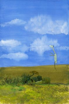 "Wednesday by John Lurie , oil pastel on paper, 12""x18"", 2012"