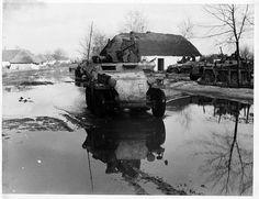 2nd SS-Panzerdivision Das Reich navigate through the Spring mud. Ukrain, Russia. 1943.