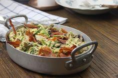 Squashetti med kylling, champignoner og pesto