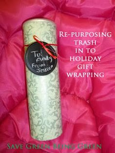 Make a unique wrapped package using a Pringles container and gift wrap #recycling #re-purposing