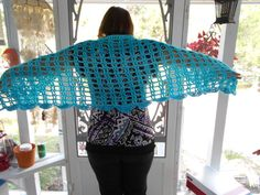 Shadings of Blue Short Fashion Shawl by KaysKoolKrochet on Etsy