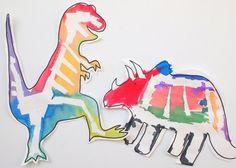 tape resist STEM and art project- dinosaur bones artwork for kids