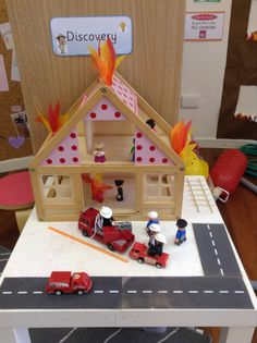 fire station small world Nursery Activities, Preschool Activities, Preschool Classroom, Fire Safety Week, Fire Prevention Week, People Who Help Us, Community Helpers Preschool, Role Play Areas, Community Workers