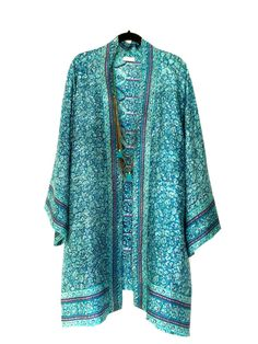Silk kimono jacket / beach cover up / in teal and magenta , with ethnic Indian paisley border print