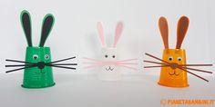 Lavoretti di Pasqua: Coniglietti con i Bicchieri di Plastica