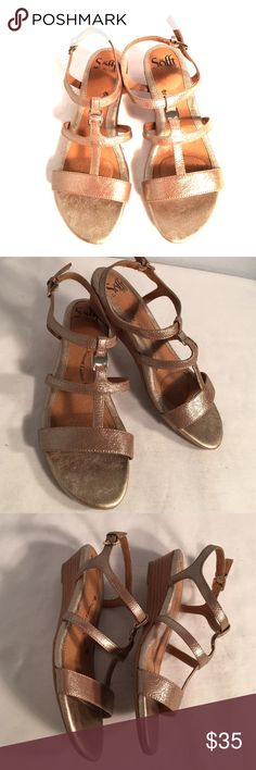 Sofft brand low wedge summer sandals Sofft brand low wedge summer sandals excellent condition no damage very quality comfort shoe with inside cushion soles Sofft Shoes Sandals
