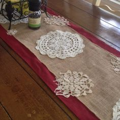 Table runner with old lace doilies, burlap, and a piece of an old table cloth!!!