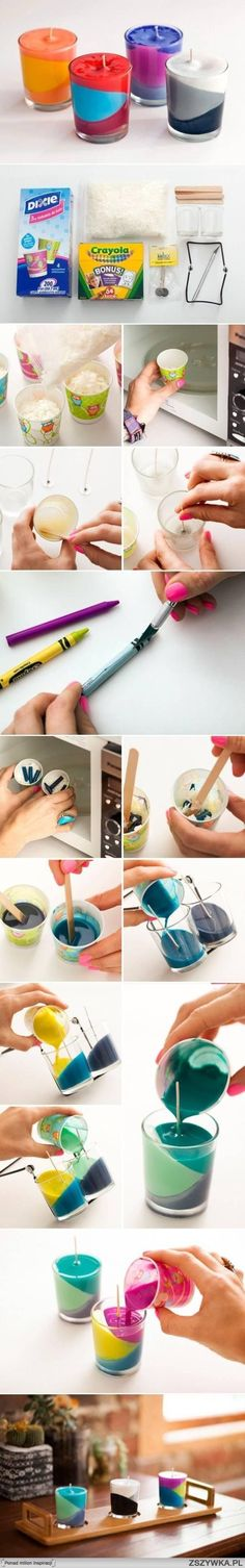 diy, multi, color, candle by Liliana Henao