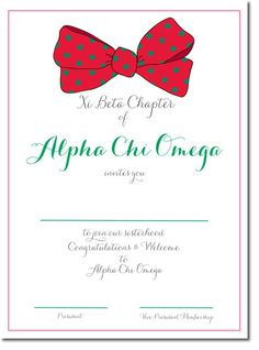 Alpha Chi Omega bid day invitations, custom bid day cards for your recruitment. http://www.trulysisters.com/alpha-chi-omega-bid-day-cards-d