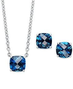 Sterling Silver Jewelry Set, London Blue Topaz Cushion-Cut Pendant and Earrings Set (7-1/2 ct. t.w.) - Necklaces - Jewelry & Watches - Macy's