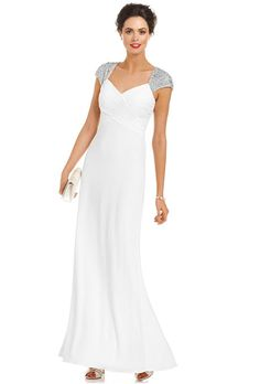 Brides.com: Wedding Dresses We Love For Under $1,000. Bedazzled cap sleeves up the ante on this otherwise simple silhouette.  Cap-sleeve beaded, pleated wedding dress, $209, JS Boutique available at Macy's  See more cap-sleeve wedding dresses.