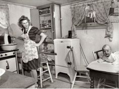 Boiling the baby's diapers, 1943