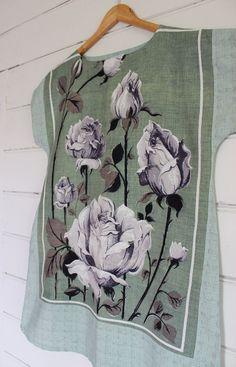 Upcycled Linen Tea Towel Tunic Women Dress Shabby Chic Roses