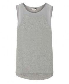 Round Neckline Sleeveless Chiffon Tank in Grey