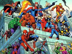 "Arthur Adams produced the ""Marvel Heroes and Villains"" lithograph for Dynamic Forces.  We could easily peg these versions of Spider-Man, Fantastic Four, Avengers, X-Men, and their various villains in the mid 1960s era.  You've got Daredevil standing next to Black Widow, that edges you in the 1970 territory.  :-)"
